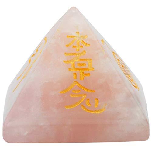 KYEYGWO Reiki Heilung Kristall Pyramide Edelstein mit Usui Reiki-Symbolen, Energie Heilstein Pyramiden Fengshui Figuren für Spirituelle Meditation und Home Decoration, Rosenquarz