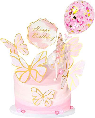 Decoración de tarta de cumpleaños mariposa Miotlsy Cupcake Toppers, Pastel de Mariposa Decoraciones para Pasteles Herramientas para Pastel de cumpleaños Decoración de Fiesta 23 Piezas