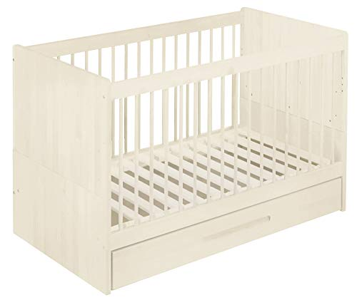 BioKinder 22777 Spar-Set Lina Kinderbett Gitterbett Babybett mit Bettkasten aus Massivholz Kiefer 70 x 140 cm weiß lasiert