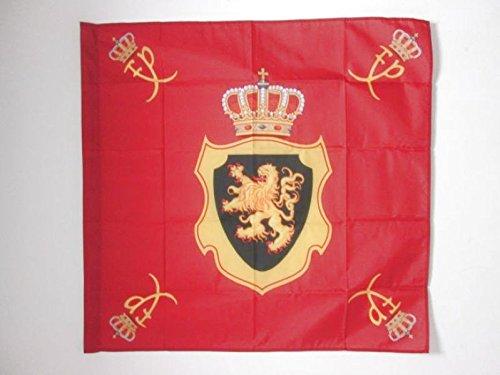 AZ FLAG Flagge KÖNIGLICHE STANDARTE VON Belgien 90x90cm - BELGISCHE Fahne 90 x 90 cm Scheide für Mast - flaggen Top Qualität