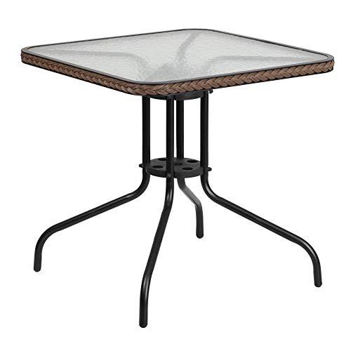 Flash Furniture 28'' Square Tempered Glass Metal Table with Dark Brown Rattan Edging , Clear/Dark Brown Rattan