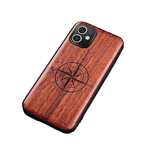 pengge Funda De Madera para iPhone 12 Mini, Totalmente Protectora, Ajuste Exacto, Caja De Madera Natural única Y Elegante (para iPhone 12 Mini), Compass