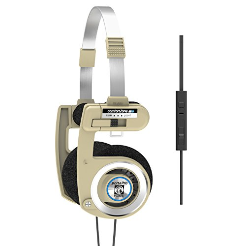 Koss Porta Pro Limited Edition Rhythm Beige On-Ear Headphones, in-Line Microphone, Volume Control and Touch Remote Control, Includes Hard Carrying Case, Wired with 3.5mm Plug, Rhythm Beige