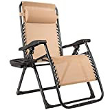 Goplus Zero Gravity Chair, 500-lb Capacity Oversized Recliner with Cup Holder, Breathable Fabric, Detachable Headrest, Heavy Duty Folding Chaise for Pool, Patio, Yard (Beige)
