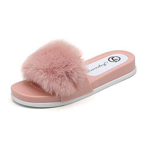 XXD Sandalias Palas Mujer Verano Zapatillas Esponjosas Estar Casa Chanclas Planas Interior y Exterior Zapatos Playa de PVCPink-36