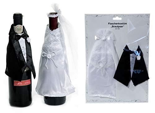 Preis am Stiel 2er Set Flaschenkostüm Brautpaar | Hochzeit | Hochzeitspaar | Flaschenverkleidung | Flaschendeko