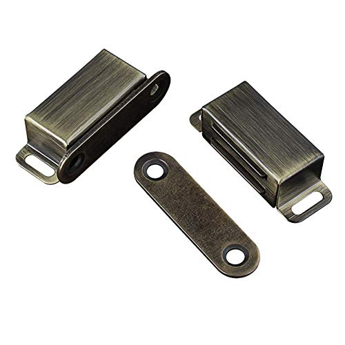 Cabinet Door Catch with Strong Magnetic, 1.2mm Thickness Furniture Latch 10 lbs, Bronze (Pack of 2)