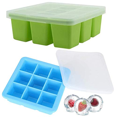 Eiswürfelbehälter mit Deckel Babynahrung -WENTS Gefrierform zum Einfrieren Babykost, brei/beikost/muttermilch aufbewahrung und als Behälter für Babybrei 2PCS