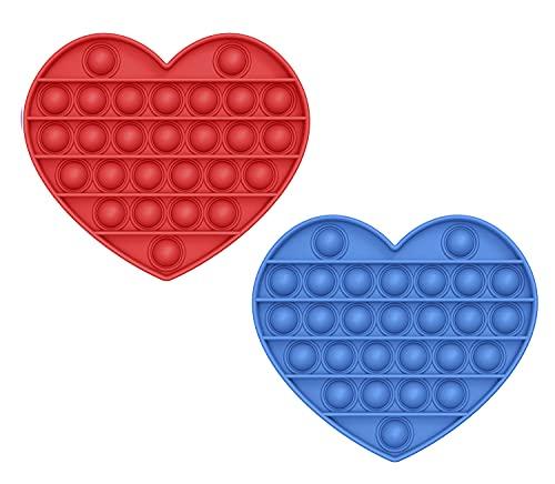 MAGIC SELECT Push Pop Bubble Sensory Fidget Toy, Giocattolo Anti Stress allevia l'ansia, Bolle di Silicone Push Pop, per Autismo Bisogno Speciale Antistress. (Cuore Rosso, Blu)