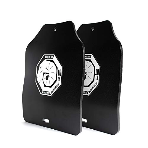 TRAINLIKEFIGHT Ultimate Triple Curve Weighted Plates 10lbs (20lbs Pair) - Set di piastre zavorrate di peso di 4,5 kg (9 kg totale coppia), senza gilet
