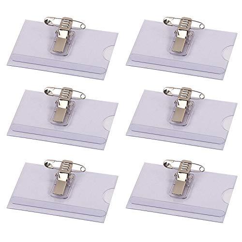 MEAOR Namensschild-Halter, Premium-Qualität, transparent, Kunststoff, Namensschild mit Halter, Clip und Nadel, 90 x 56 mm, 50 Stück