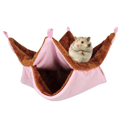 Ryoizen Kleintier Hängematte Warm Plüsch Schaukel, Doppelschicht-Haustier-hängende Bett-Haustier-Decke Für Ratten, Papageien, Totoro Hamster, Chinchillas, Meerschweinchen, Eichhörnchen