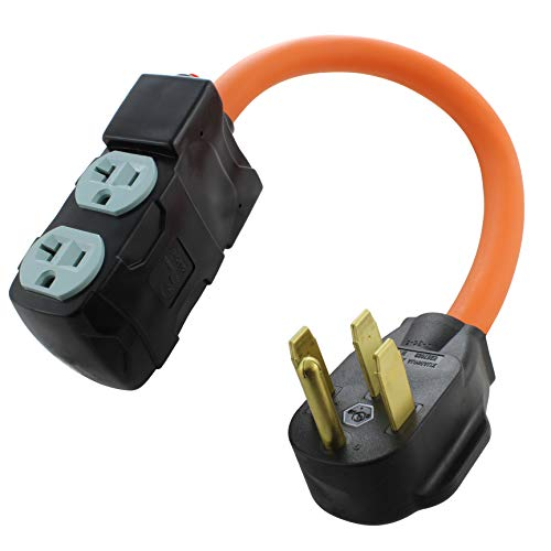 AC WORKS 4-Prong 220-Volt Plug to 120-Volt 15/ 20Amp Household Female Adapter Cord (4-Prong 14-50 Outlet to (4) Household W/Breaker)