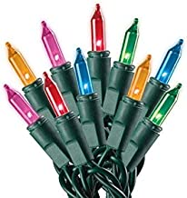 Prextex Christmas 100-Count Multi Color Green Wire Light Set Christmas Decorations