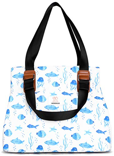 MORHUA Strandtaschen, Strandtaschen, Strandtaschen, wasserabweisend, Strandtasche, Sporttasche, große Tragetasche Schultertaschen, Meeresfisch BG