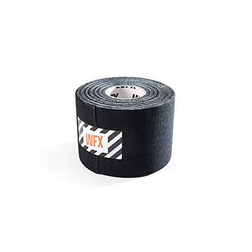#DoYourFitness x World Fitness WFX 1x Kinesiologie Tape [5m x 2,5cm LxB] - Lange Tragezeit - elastische Bandage - Selbsklebend, 100% gewebte Baumwolle, Wasserresistent, Latexfrei - Schwarz
