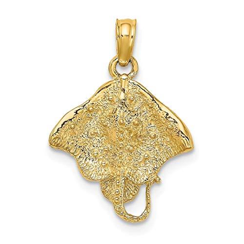 14 Karat Gold Stachelrochen 2 D Charm Anhänger Halskette Schmuck Geschenke für Frauen