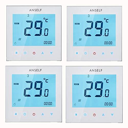 Anself 4 Stück Programmierbar Raumthermostat mit LCD Touch Screen Wasser Heizung Wöchentliche Room Thermostat Controller 3A 110 – 230 V