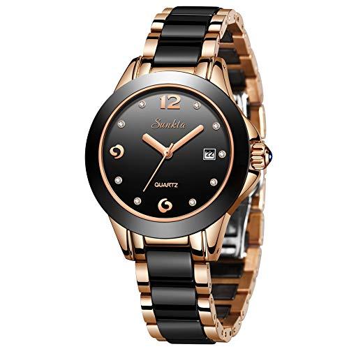SUNKTA Damen Uhren, Mode wasserdichte Edelstahl Keramikuhr Rotgold Schwarz Analog Quarz Armbanduhren für Damen ST6615C