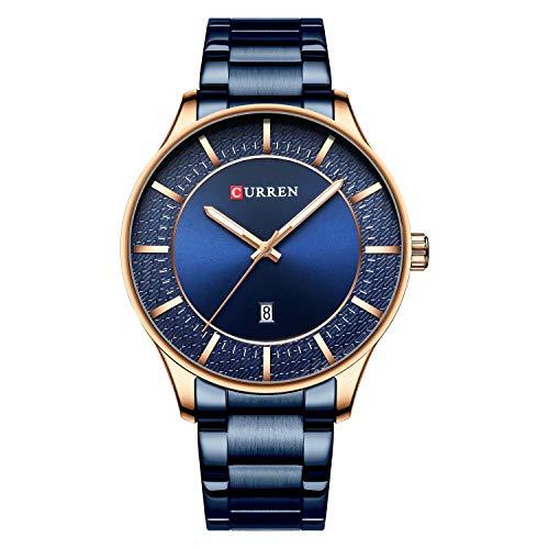 Reloj de Pulsera Curren 8347 para Hombre, Accesorios portátiles, Reloj de Cuarzo para Hombre, con Fecha, Puntero Luminoso Impermeable, Correa de Acero Inoxidable