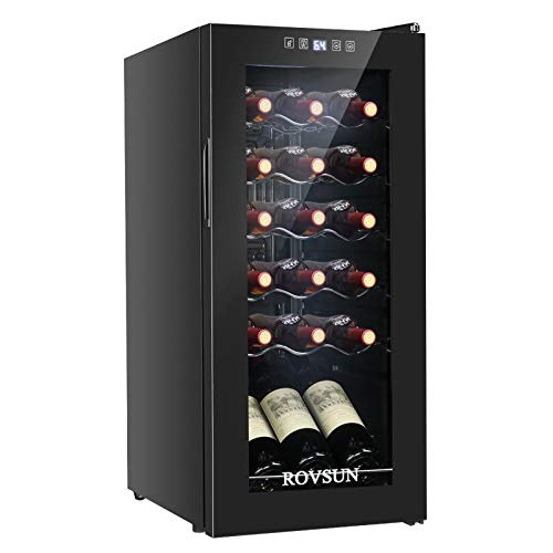 ROVSUN 18 Bottle Wine Cooler, Freestanding Compressor Wine Chiller, Beverage Fridge with Digital Temperature Control & Double-layer Glass Door for Red/White Wine, Champagne & More
