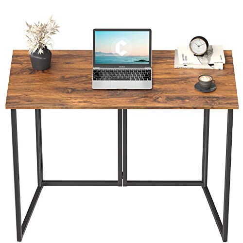 """Cubiker 40"""" Folding Computer Desk,Small Home Office Laptop Work Desk,Study Writing Table,No-Assembly,Foldable and Portable Design,Deep Brown"""