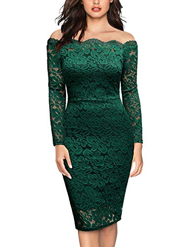 Miusol Women's Vintage Off Shoulder Flare Lace Slim Cocktail Pencil Dress (Medium, G-Dark Green)