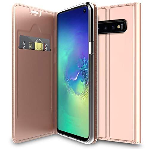 Verco Handyhülle für Galaxy S10, Premium Handy Flip Cover für Samsung Galaxy S10 Hülle [integr. Magnet] Book Hülle PU Leder Tasche 6,1 Zoll, Rosegold
