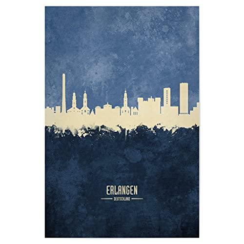 artboxONE Poster 30x20 cm Städte Erlangen Germany Skyline Navy - Bild erlangen Cityscape Deutschland