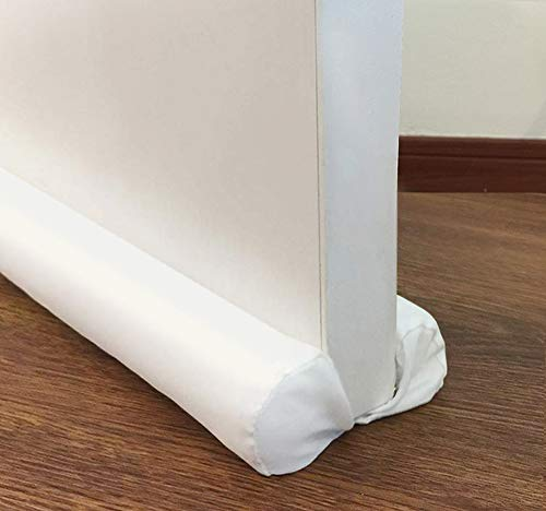 MAXTID Door Draft Stopper White Double Sided Draft Block Sound Proof Blocker Cold Air Stopper - Adjustable 32 to 38 Inches