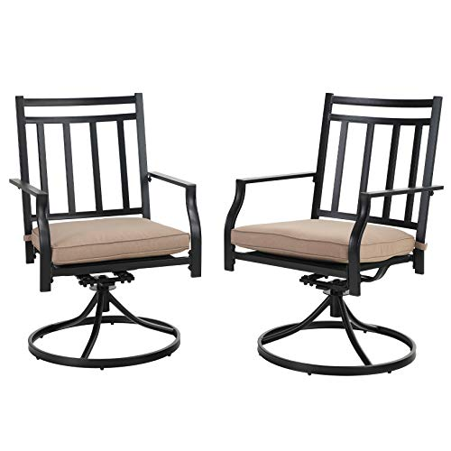 MFSTUDIO Outdoor Patio Dining Chairs Set of 2 Metal Frurniture with Cushion for Garden, Bistro, Lawn, Backyared, Support 300LBS