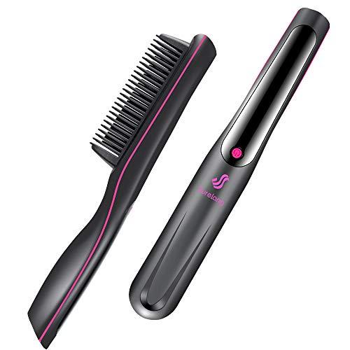 Haarglätter Bürste, Glättbürste mit Anionentechnik nach 30s Einsatzbereit, 3 Temperatureinstellungen Haarglättungsbürste, Verbrühschutz Auto-Off Haarglätter Keramik-Haarkamm für Frauen und Männer