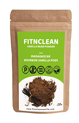 Vanilla Bean Powder from Ground whole Madagascar Bourbon Gourmet Pods (1 oz) by FITNCLEAN VANILLA| Raw Natural Pure Unsweetened No Additives NON-GMO