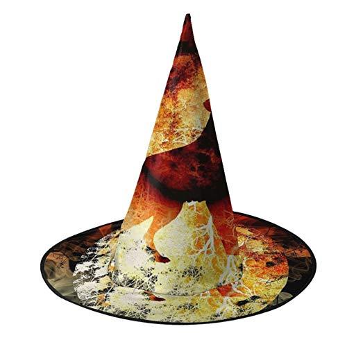 TYHG - Gorro de bruja unisex para Halloween, accesorio para disfraz en 3D, diseo de lobo de fuego, luna aullando Halloween, cosplay, decoracin de fiesta, para mujeres y nias, color negro
