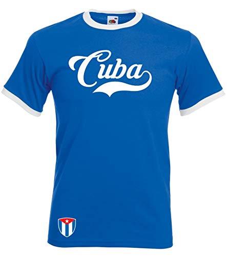 Kuba Ringer Retro TS - blau - WM 2018 T-Shirt Trikot Look (M)