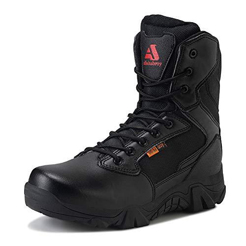 ailishabroy Herren wasserdichte militärische Taktische Stiefel Armee Dschungel Stiefel Tac Side Zip Outdoor Sneaker(Schwarz 40 EU)