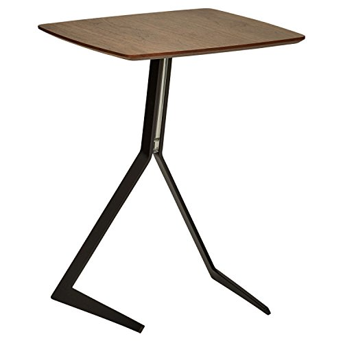Marca Amazon - Rivet - Mesa Auxiliar de Madera y Metal Estilo Industrial ligeramente Inclinada, 44 cm de ancho - Nogal