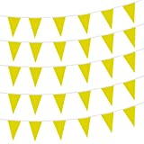 Yellow Pennant Flags,150 Pcs Banner Flag with Blank Flags,DIY Flag,Birthday,Party Celebrations and Shops Decorations,260Ft (Yellow)