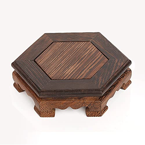Pedestal con base de madera para jarrones Bandeja de planta hexagonal, soporte de madera maciza de...