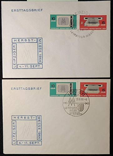 Germany DDR FDC 1966 Leipzig autumn fair 2 different postmarks good used #2 first day cover keyboard television JandRStamps 135865