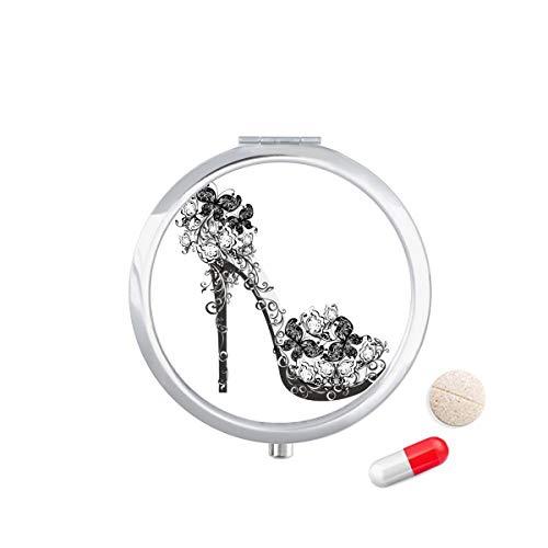 DIYthinker hoge hakken schoenen bloem vlinder patroon Travel Pocket Pill Case Medicine Drug Opbergdoos Dispenser Spiegel Gift