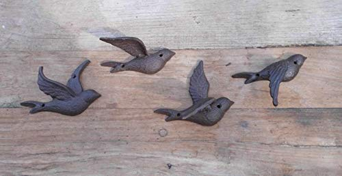 Deko-Impression Wunderschöne Wanddeko Wandobjekt 4 Schwalben Fliegend Gusseisen braun