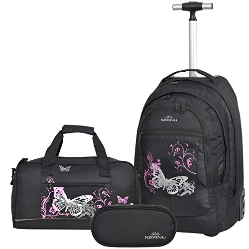 Premium Schulset 3 Teile :: Schultrolley Schulranzen 35 Liter KEANU hochwertiger XL Schulrucksack Rucksack Driver + passende Sporttasche + Etui Box Mäppchen