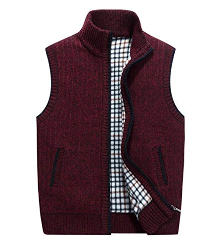 PFSYR Ärmellose Herren Weste, Herren Wolle Weste, Dicke warme Strickweste, Pullover (Farbe : Red, größe : 2XL)