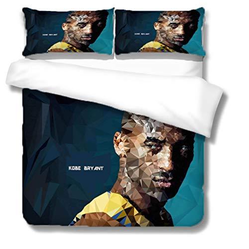 SK-YBB Juego de funda de edredón 3D NBA Bryant con diseño de superestrella de baloncesto, con 2 fundas de almohada, juego de ropa de cama de microfibra para niños y adultos (Kobe9, doble 200 x 200 cm)