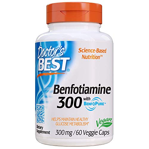 Doctor's Best Benfotiamine, Non-GMO, Vegan, Gluten Free, Soy Free, Helps Maintain Blood Sugar Levels, 300 mg, 60 Veggie Caps (DRB-00270)