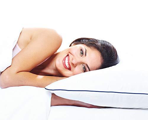 Health Effect Wasserkissen 50 x 70 cm, weiß. Erleben Sie in jeder Schlafposition einen individuellen angepassten Stützkomfort für Kopf und Nacken. Vertrauen Kissen mit der blauen Kante.