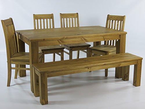 Sitzgruppe Garnitur mit Esstisch 140x90cm 4 Stühle Klassic 1 Bank 140x38cm Pinie Massivholz, geölt und gewachst, Farbton Brasil