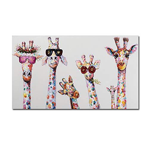 HSFFBHFBH Cuadro en Lienzo Arte Animal Curioso Jirafas Familia Cartel Impresiones Cuadro Decorativo Obra gráfica para decoración de la habitación de los niños 50x100cm (19.7