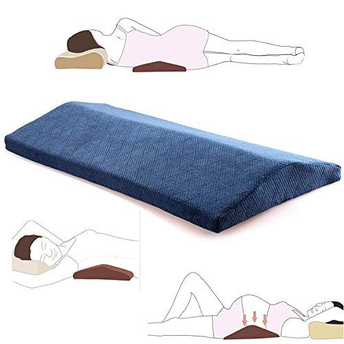 Lumbar Pillow for Sleeping Back Pain - Soft Memory Foam Sleeping Pillow for Lower Back Pain, Orthopedic Bed Cushion for Back & Side Sleepers, Lumbar Support Cushion for Leg, Knee & Hip Pain, Blue